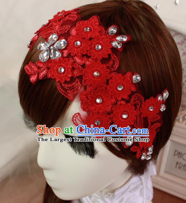 Top Grade Princess Hair Accessories Bride Red Lace Hair Stick Headwear for Women