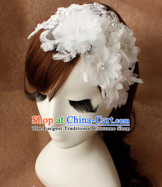 Top Grade Bride White Flowers Lace Hair Stick Headwear Princess Hair Accessories for Women