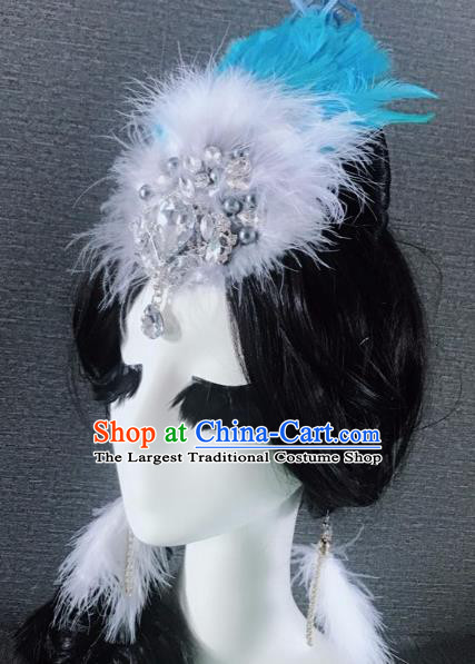 Top Grade Stage Performance Blue Feather Hair Accessories Brazilian Carnival Halloween Headwear for Women