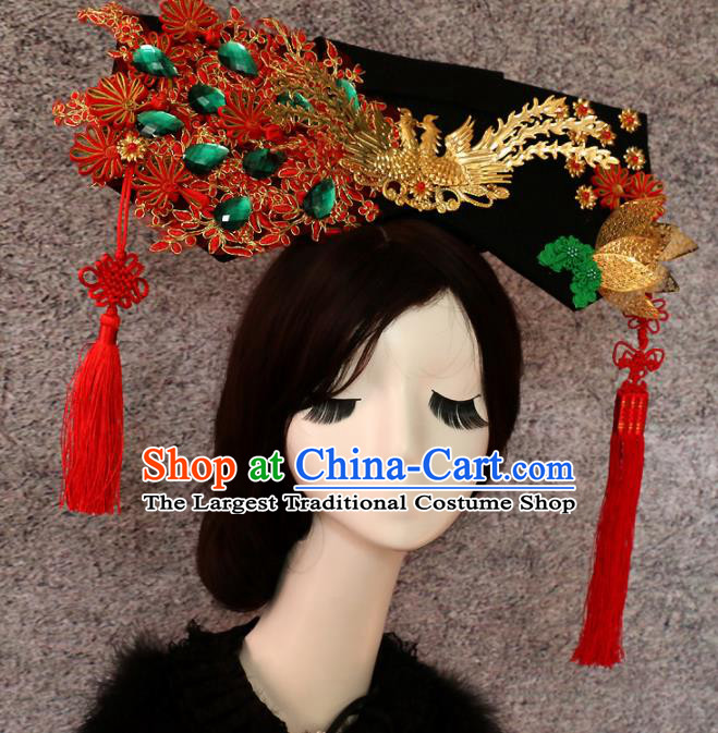 Traditional Chinese Qing Dynasty Manchu Phoenix Headwear Ancient Palace Queen Hair Accessories for Women