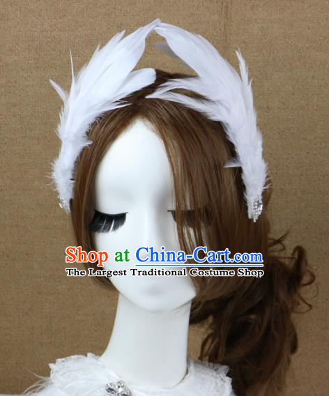 Top Grade Bride White Feather Hair Stick Headwear Brazilian Carnival Hair Accessories for Women