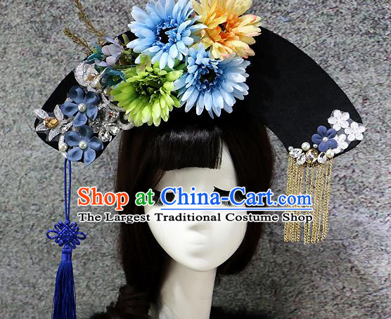 Chinese Ancient Palace Headwear Traditional Qing Dynasty Manchu Blue Flowers Hair Accessories for Women