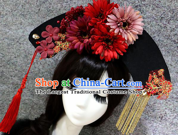 Chinese Ancient Palace Headwear Traditional Qing Dynasty Manchu Red Flowers Hair Accessories for Women
