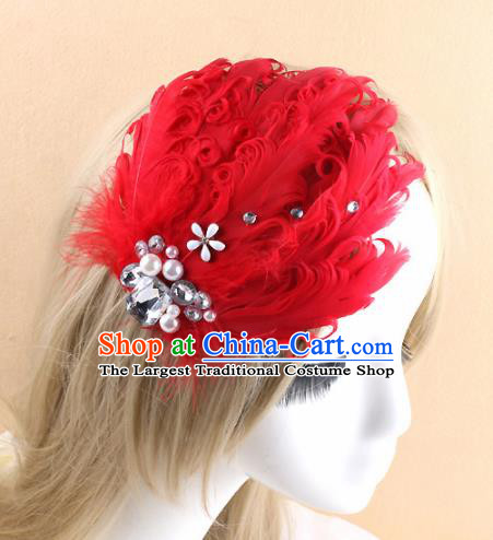 Top Grade Baroque Princess Red Feather Hair Claw Headwear Wedding Bride Hair Accessories for Women