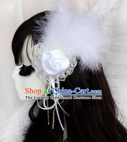 Top Grade Baroque Princess White Feather Rose Hair Stick Headwear Wedding Bride Hair Accessories for Women