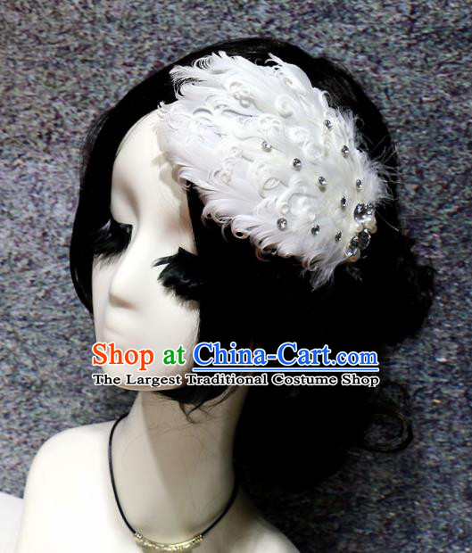 Top Grade Bride White Feather Hair Claw Headwear Brazilian Carnival Hair Accessories for Women