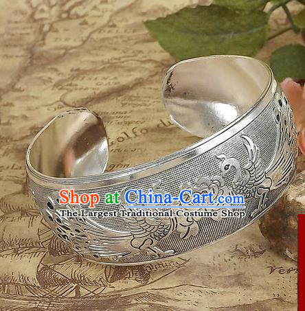 Top Grade Chinese Traditional Ethnic Accessories Sliver Carving Phoenix Bracelet for Women