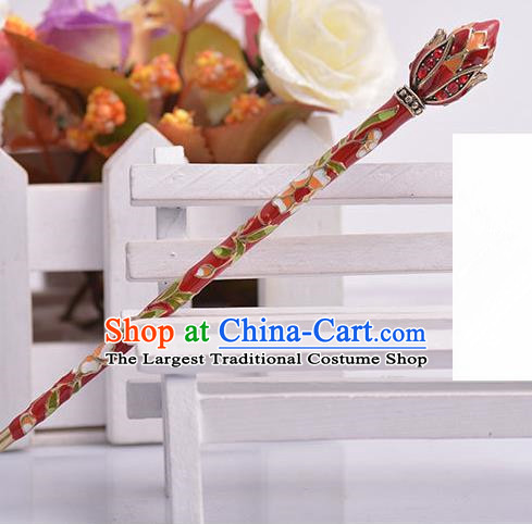 Chinese Ancient Princess Red Hairpins Headwear Traditional Hanfu Hair Accessories for Women