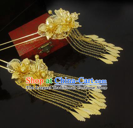 Chinese Ancient Bride Golden Tassel Hairpins Traditional Hanfu Step Shake Hair Accessories for Women