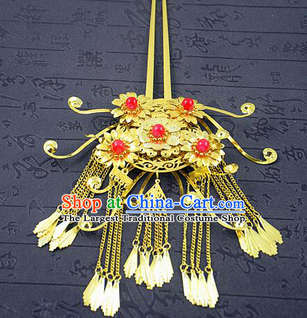 Chinese Ancient Bride Golden Hairpins Traditional Palace Hanfu Tassel Step Shake Hair Accessories for Women