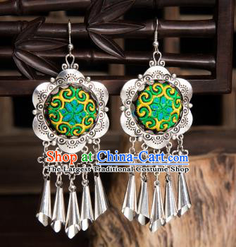 Top Grade Chinese Traditional Ethnic Accessories Miao Nationality Green Embroidered Earrings for Women