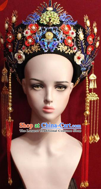 Chinese Ancient Empress Headwear Cloisonne Butterfly Hat Traditional Qing Dynasty Queen Hair Accessories for Women