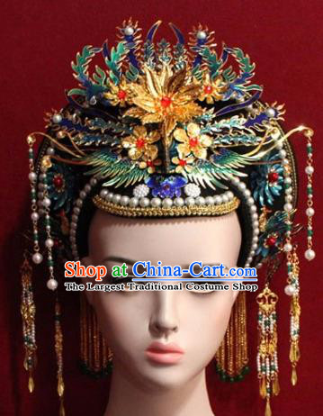 Chinese Ancient Empress Headwear Cloisonne Phoenix Hat Traditional Qing Dynasty Queen Hair Accessories for Women