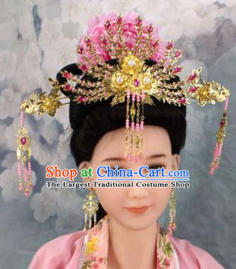 Chinese Ancient Princess Rosy Phoenix Coronet Headwear Traditional Tang Dynasty Queen Hairpins Hair Accessories for Women