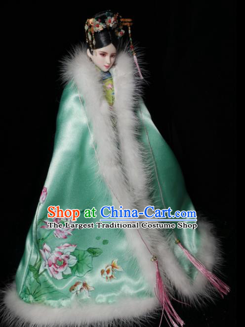 Chinese Qing Dynasty Manchu Princess Green Cloak Ancient Palace Embroidered Historical Costume for Women