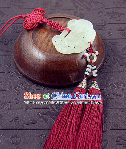 Handmade Chinese Hanfu Red Tassel Jade Pendant Traditional Ancient Princess Waist Accessories for Women