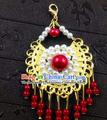 Chinese Ancient Princess Red Beads Tassel Eyebrows Pendant Hairpins Traditional Palace Hair Accessories for Women