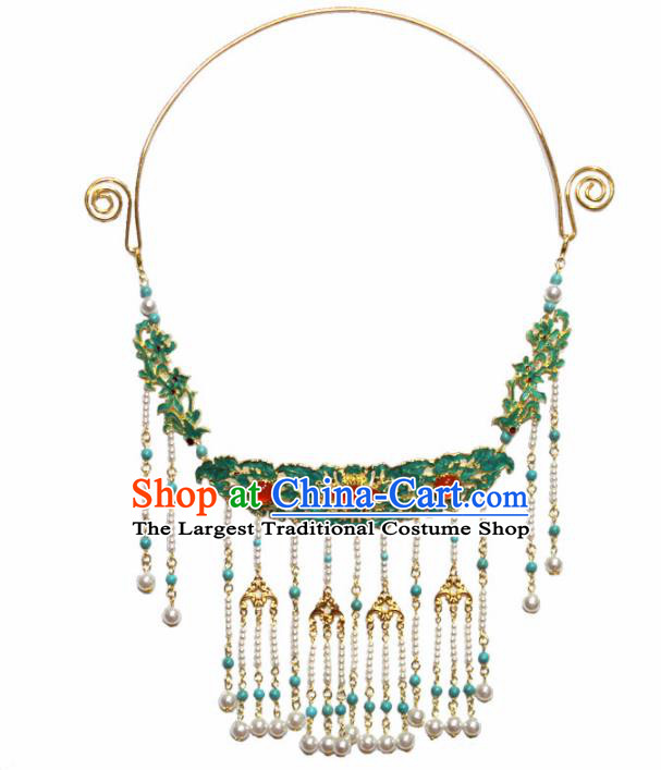 Handmade Chinese Hanfu Blueing Tassel Necklace Traditional Ancient Princess Agate Necklet Accessories for Women
