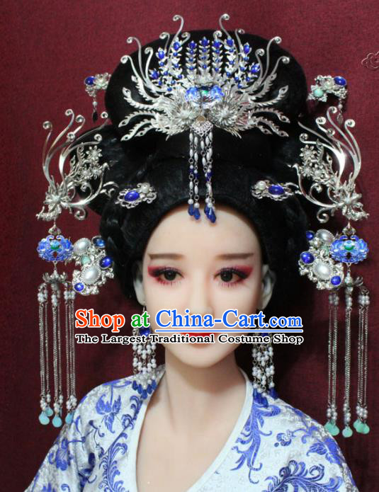 Chinese Ancient Queen Tassel Cloisonne Phoenix Coronet Hairpins Traditional Palace Wedding Hair Accessories for Women
