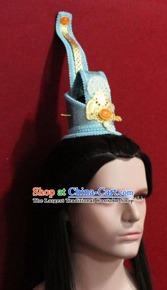 Handmade Chinese Han Dynasty Prince Blue Hairdo Crown Traditional Ancient Swordsman Hair Accessories for Men