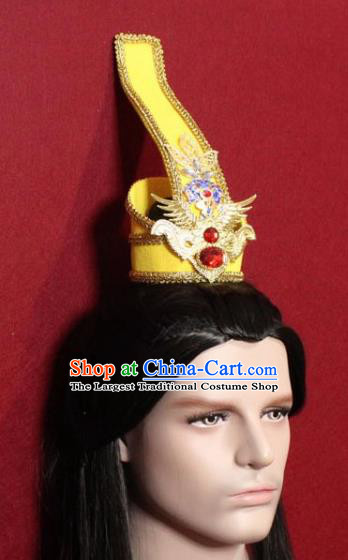 Handmade Chinese Han Dynasty Prince Golden Hairdo Crown Traditional Ancient Swordsman Hair Accessories for Men
