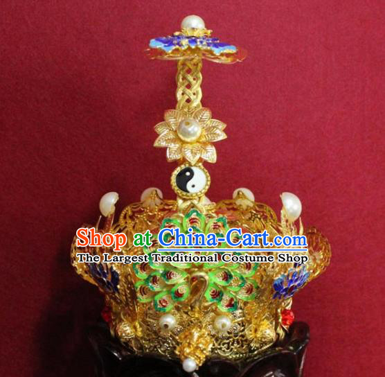 Handmade Chinese Taoism Cloisonne Lotus Hairdo Crown Traditional Ancient Taoist Swordsman Hair Accessories for Men