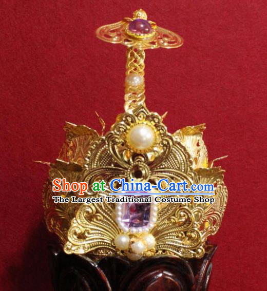 Handmade Chinese Taoism Purple Crystal Hairdo Crown Traditional Ancient Taoist Swordsman Hair Accessories for Men