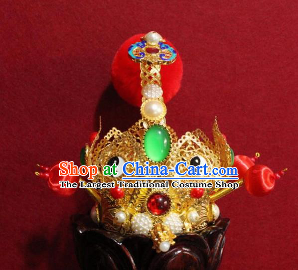 Handmade Chinese Taoism Jadeite Hairdo Crown Traditional Ancient Taoist Swordsman Hair Accessories for Men