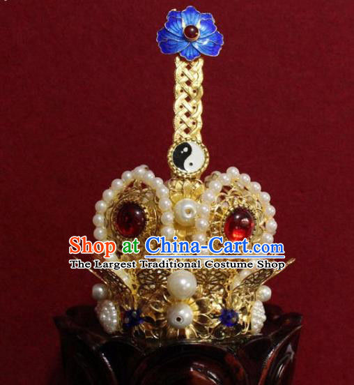 Handmade Chinese Taoism Pearls Golden Hairdo Crown Traditional Ancient Taoist Swordsman Hair Accessories for Men