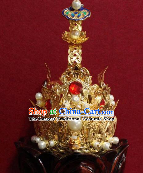 Handmade Chinese Taoism Cloisonne Hairdo Crown Traditional Ancient Taoist Swordsman Hair Accessories for Men