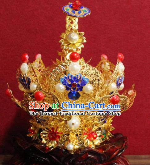 Handmade Chinese Taoism Cloisonne Golden Hairdo Crown Traditional Ancient Taoist Swordsman Hair Accessories for Men