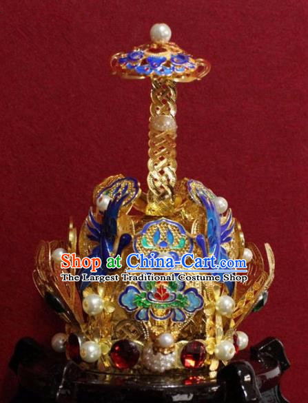 Handmade Chinese Taoism Cloisonne Cranes Hairdo Crown Traditional Ancient Taoist Swordsman Hair Accessories for Men