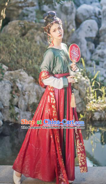 Chinese Traditional Tang Dynasty Imperial Consort Hanfu Dress Ancient Palace Dancer Costume for Women