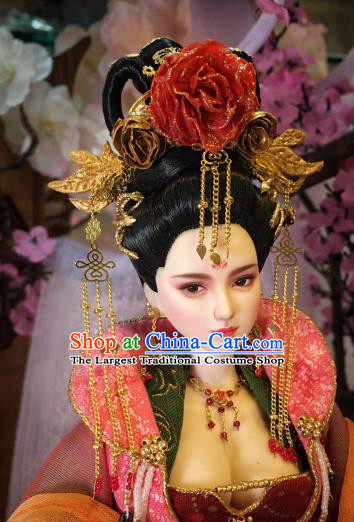 Chinese Ancient Tang Dynasty Empress Headwear Phoenix Coronet Traditional Palace Hair Accessories for Women
