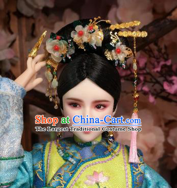 Chinese Ancient Manchu Court Lady Tassel Headwear Traditional Qing Dynasty Palace Hair Accessories for Women