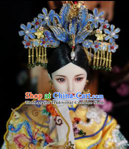 Chinese Ancient Qing Dynasty Manchu Imperial Consort Phoenix Headwear Traditional Palace Hair Accessories for Women
