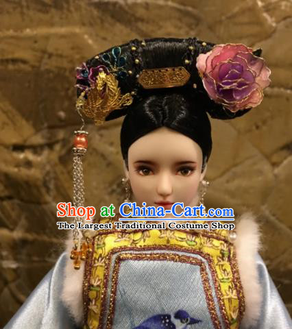 Chinese Ancient Manchu Imperial Consort Phoenix Headwear Traditional Qing Dynasty Palace Hair Accessories for Women