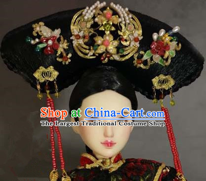 Chinese Ancient Palace Imperial Consort Cloisonne Phoenix Headwear Traditional Qing Dynasty Manchu Queen Hair Accessories for Women