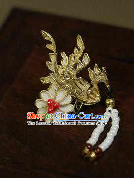 Chinese Ancient Cloisonne Golden Phoenix Hairpins Traditional Qing Dynasty Palace Manchu Imperial Consort Hair Accessories for Women