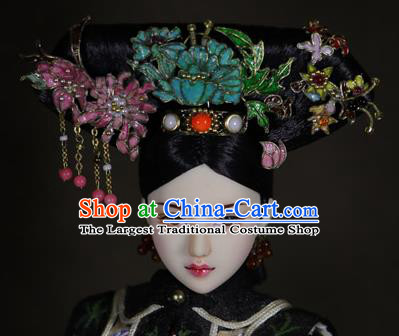 Chinese Ancient Cloisonne Peony Headwear Traditional Qing Dynasty Palace Manchu Imperial Consort Hair Accessories for Women