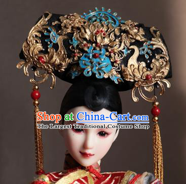 Chinese Ancient Palace Manchu Golden Phoenix Headwear Traditional Qing Dynasty Imperial Consort Hair Accessories for Women