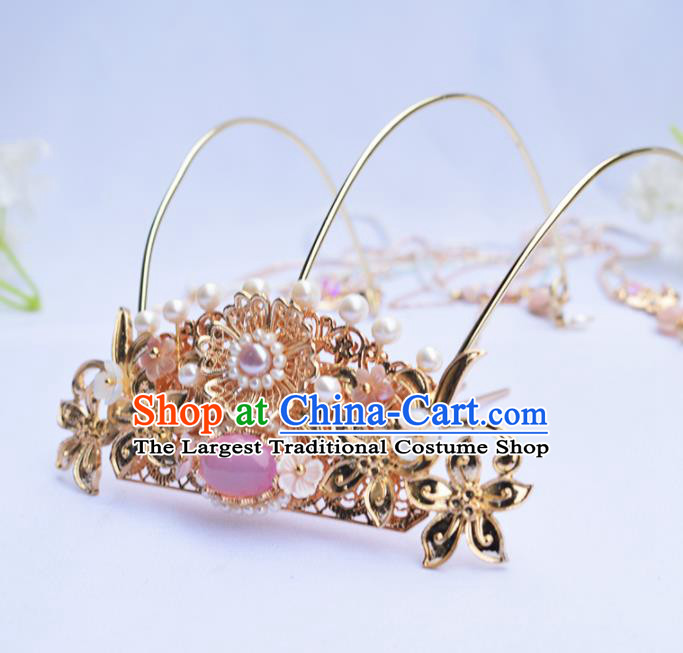 Chinese Ancient Princess Hairpins Rose Chalcedony Tassel Phoenix Coronet Traditional Hanfu Hair Accessories for Women