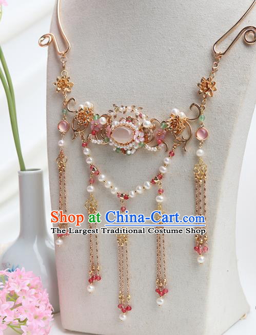 Handmade Chinese Hanfu Necklace Traditional Ancient Princess Rose Chalcedony Necklet Accessories for Women