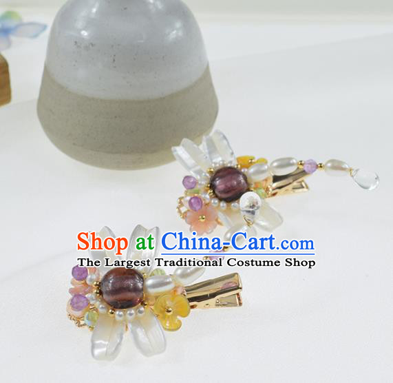 Chinese Ancient Princess Pearls Dragonfly Hair Claws Hairpins Traditional Hanfu Hair Accessories for Women