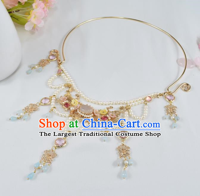 Handmade Chinese Hanfu Necklace Traditional Ancient Princess White Chalcedony Necklet Accessories for Women