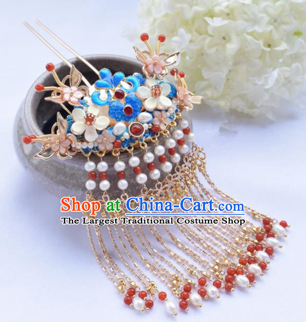 Chinese Ancient Princess Palace Cloisonne Tassel Hairpins Traditional Handmade Hanfu Hair Accessories for Women