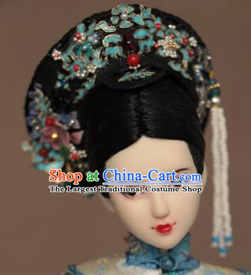 Chinese Ancient Manchu Concubine Headwear Traditional Qing Dynasty Palace Imperial Consort Hair Accessories for Women