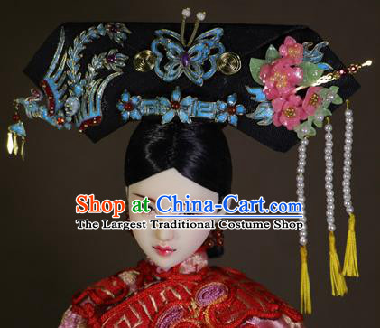 Chinese Ancient Cloisonne Phoenix Headwear Traditional Qing Dynasty Palace Manchu Imperial Consort Hair Accessories for Women