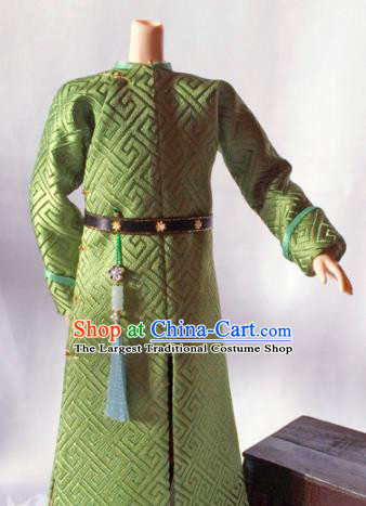 Chinese Qing Dynasty Manchu Prince Green Clothing Ancient Nobility Childe Embroidered Historical Costume for Men