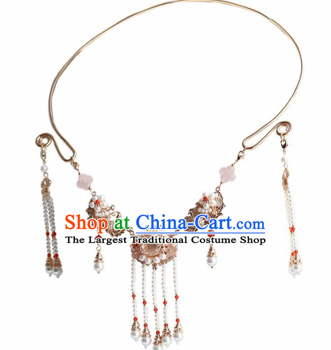 Handmade Chinese Hanfu Necklace Traditional Ancient Princess Tassel Necklet Accessories for Women